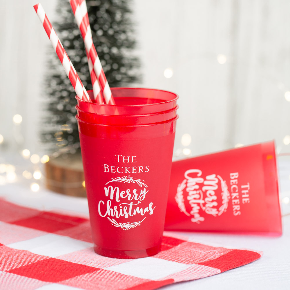 Personalized Frosted Plastic Holiday Cups 3825