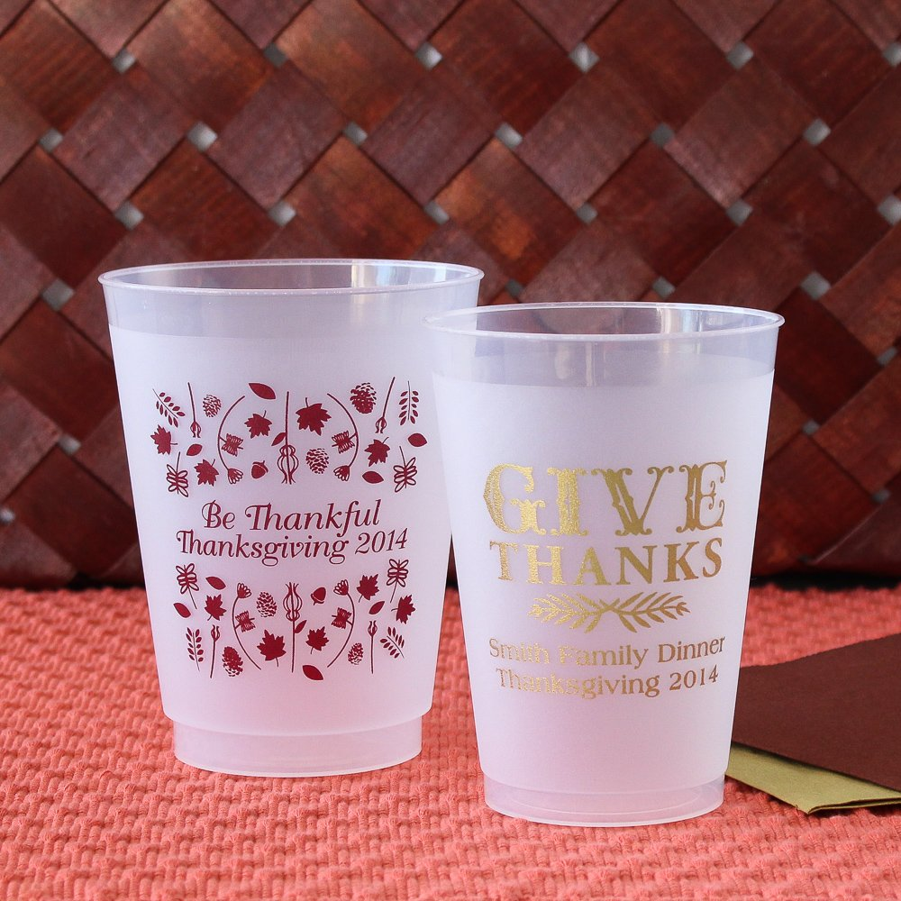 Personalized Thanksgiving Frosted Plastic Cups