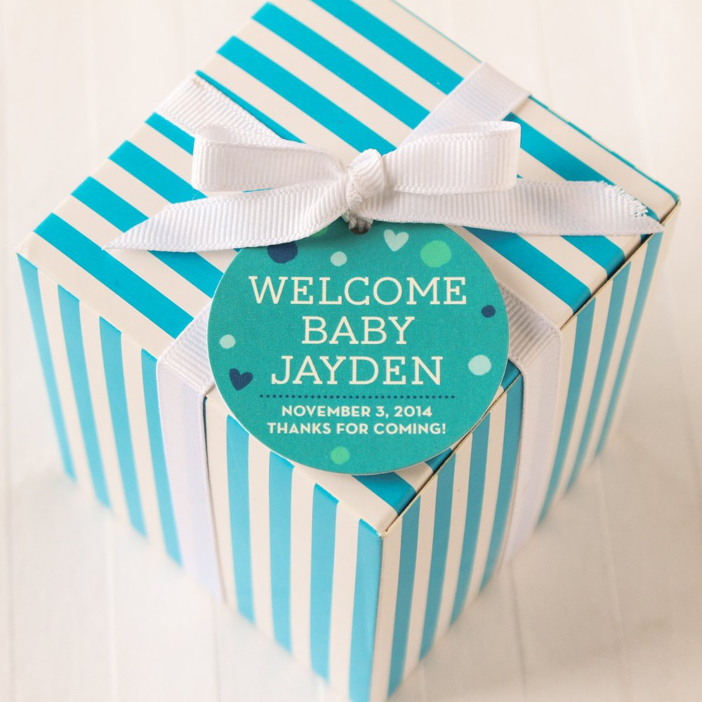 Personalized Round Baby Shower Gift Tags 4029