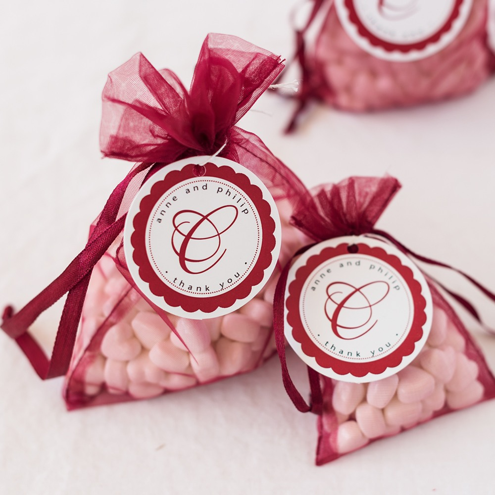 Personalized Round Favor Tags with Sheer Organza Bags