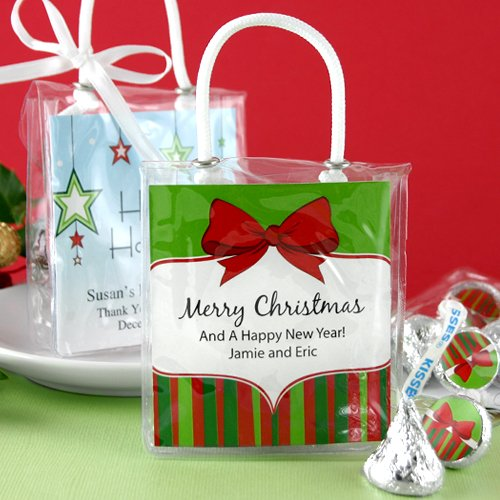 Personalized Holiday Hershey'S Kisses Mini Gift Tote 4091