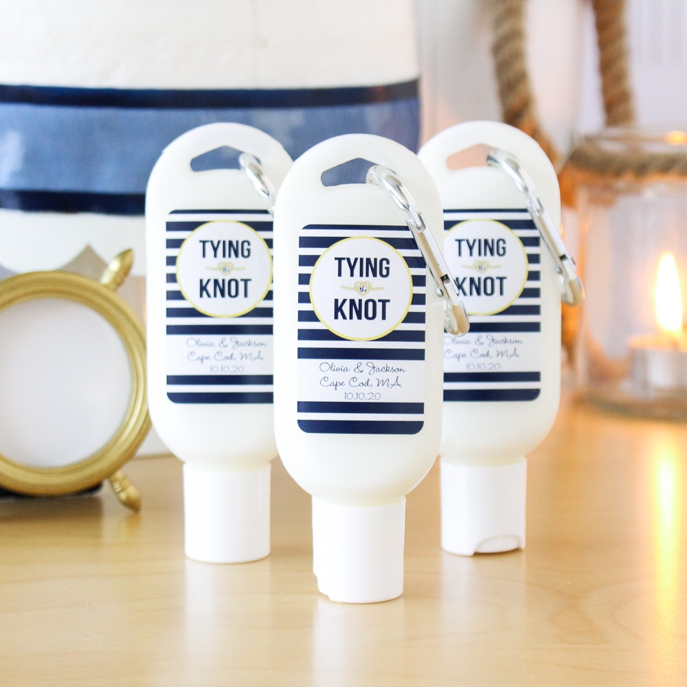 Personalized Tying the Knot Sunscreen with Carabiner