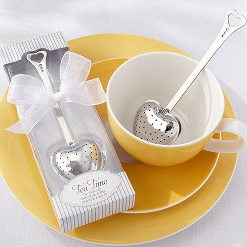 White Tea Time Heart Shaped Tea Infuser