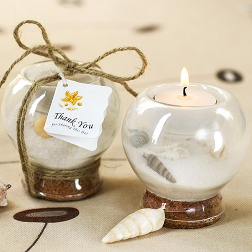 Sand And Shell-Filled Tea Light Holder 4577