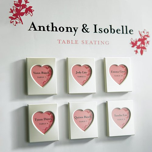 Mini Magnet Back Aluminum Heart Place Card