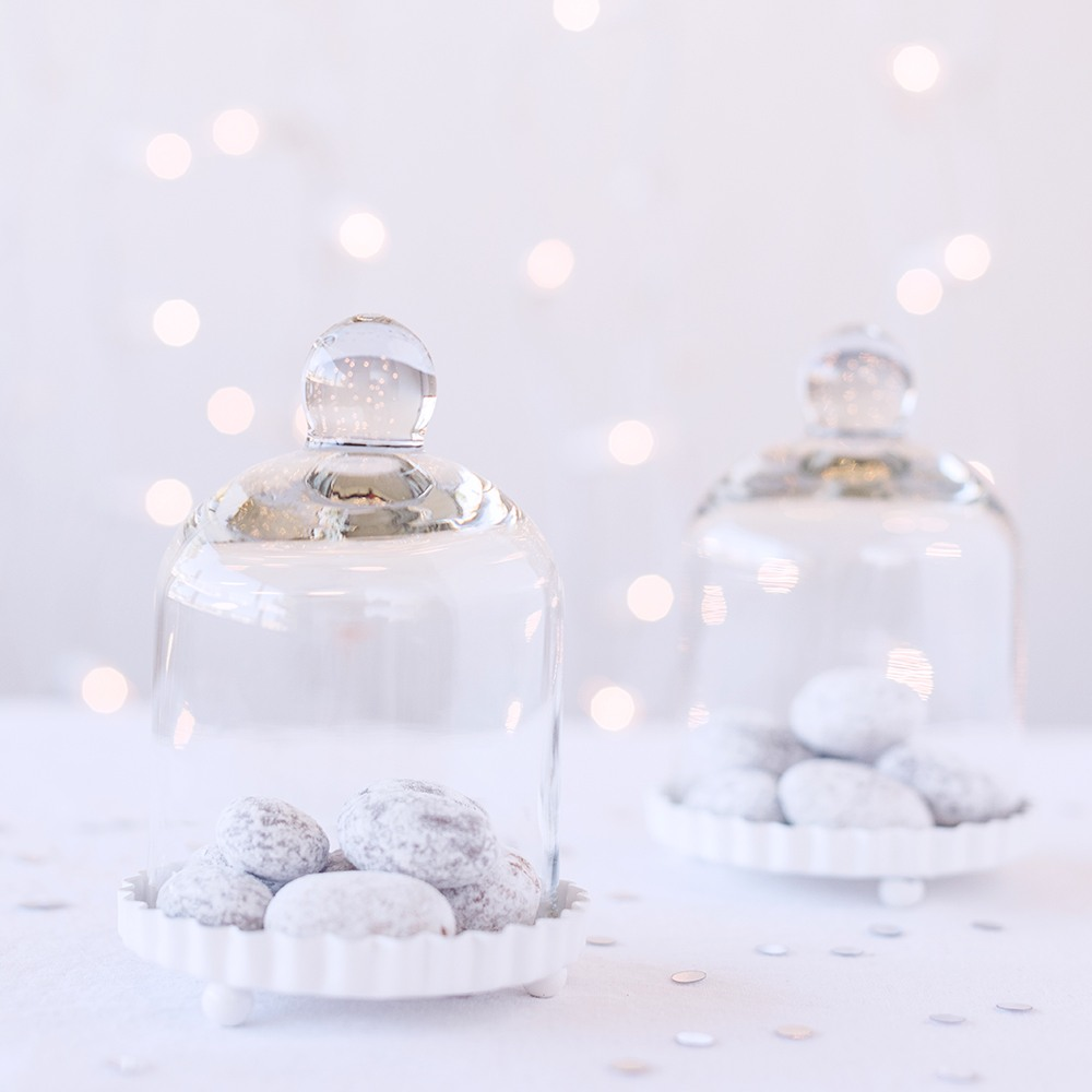 Miniature Bell Jars with White Fluted Base