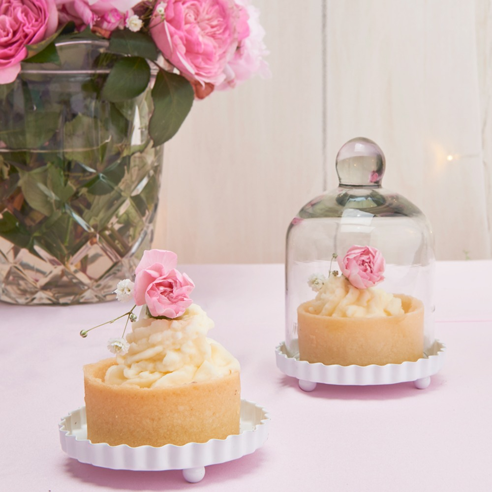Miniature Glass Bell Jar With White Fluted Base 4597