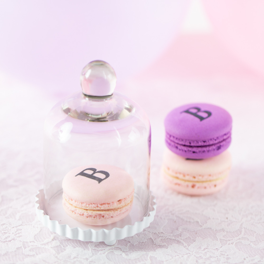 Miniature Glass Bell Jar with White Fluted Base Love is Sweet