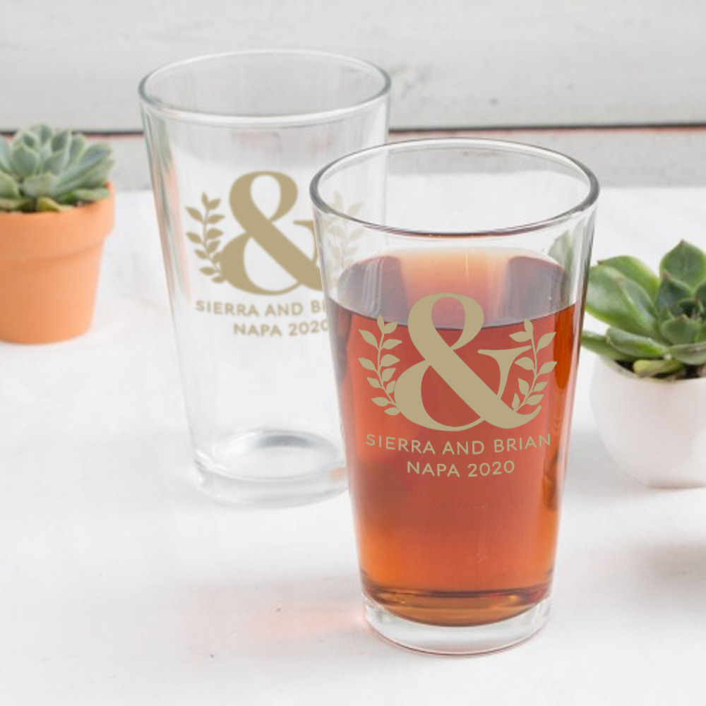 Personalized Eco Ampersand Pint Glass