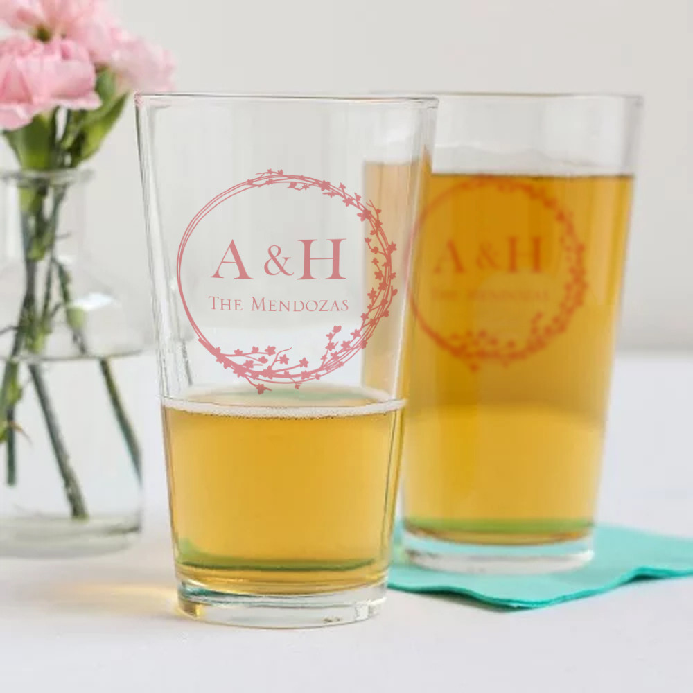 Personalized Cherry Blossom Pint Glass