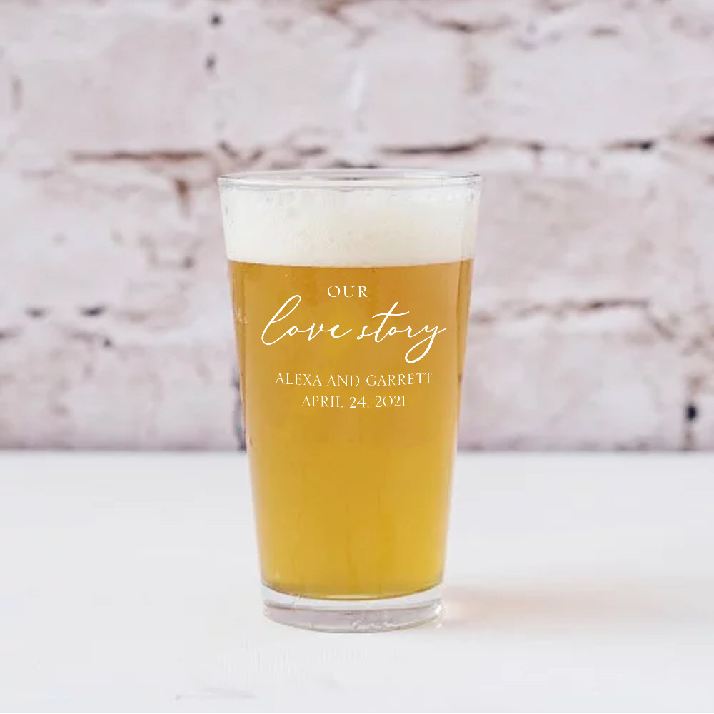 Personalized Our Love Story Pint Glass