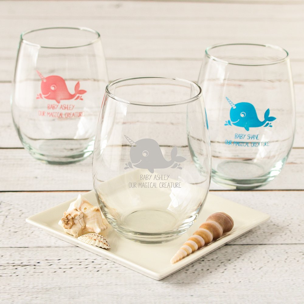Personalized 15 oz. Narwhal Stemless Wine Glasses