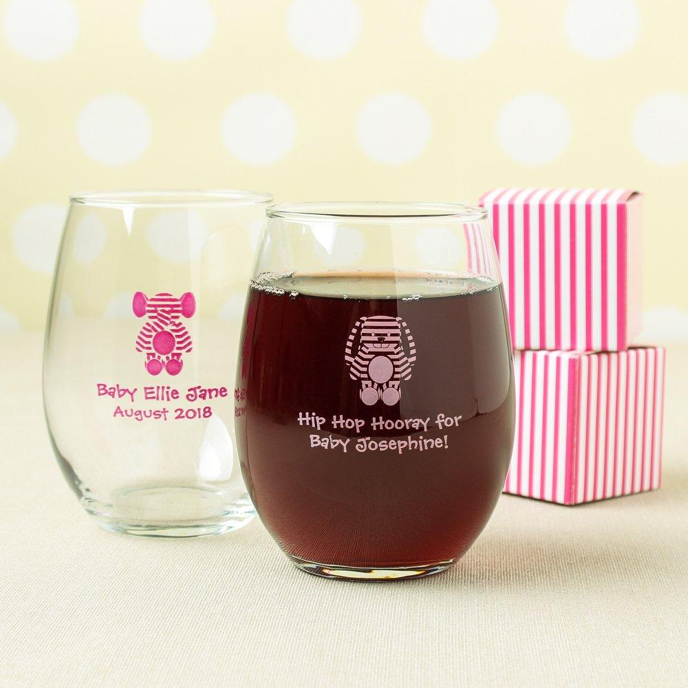 Personalized 15 oz. Baby Stripe Stemless Wine Glass