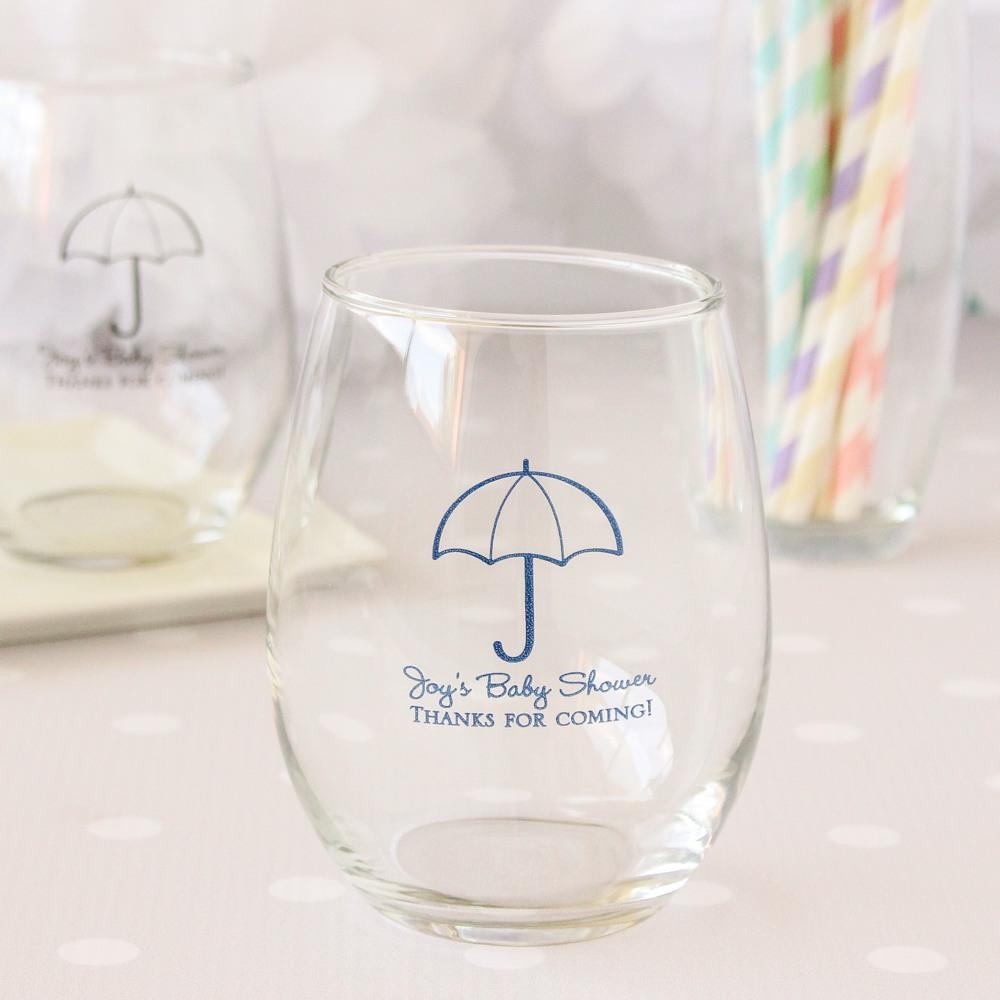Personalized 15 oz. Umbrella Stemless Wine Glasses