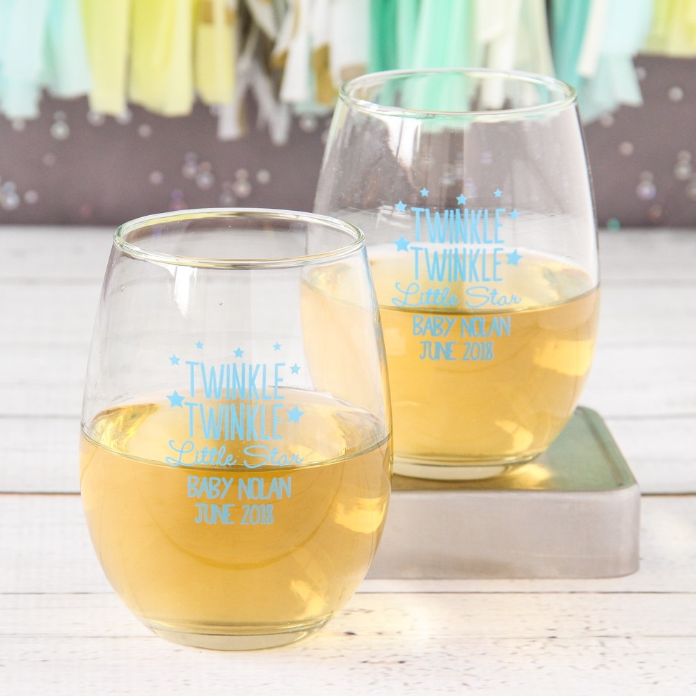 Personalized Twinkle Twinkle 15 oz Stemless Wine Glasses