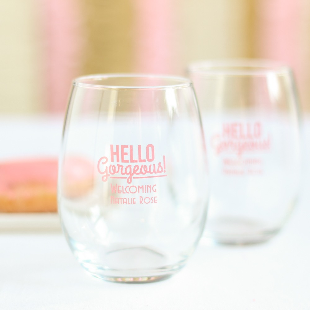 Personalized Hello Gorgeous 15 oz. Stemless Wine Glass