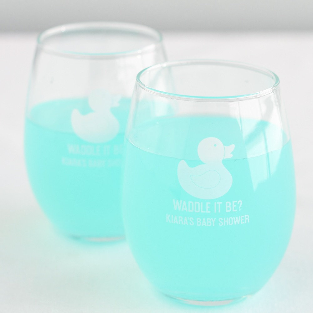 Personalized Duck Stemless Wine Glasses