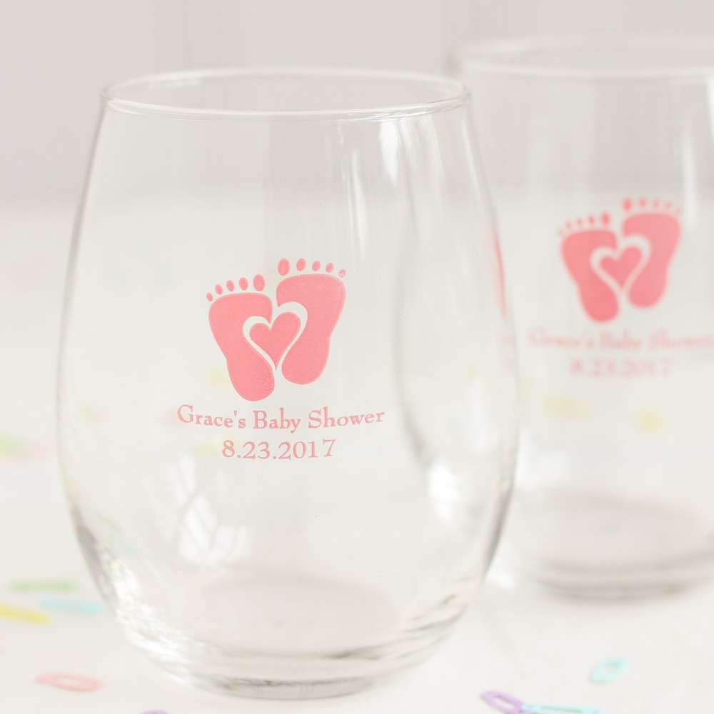 Personalized Baby Feet Stemless Wine Glass