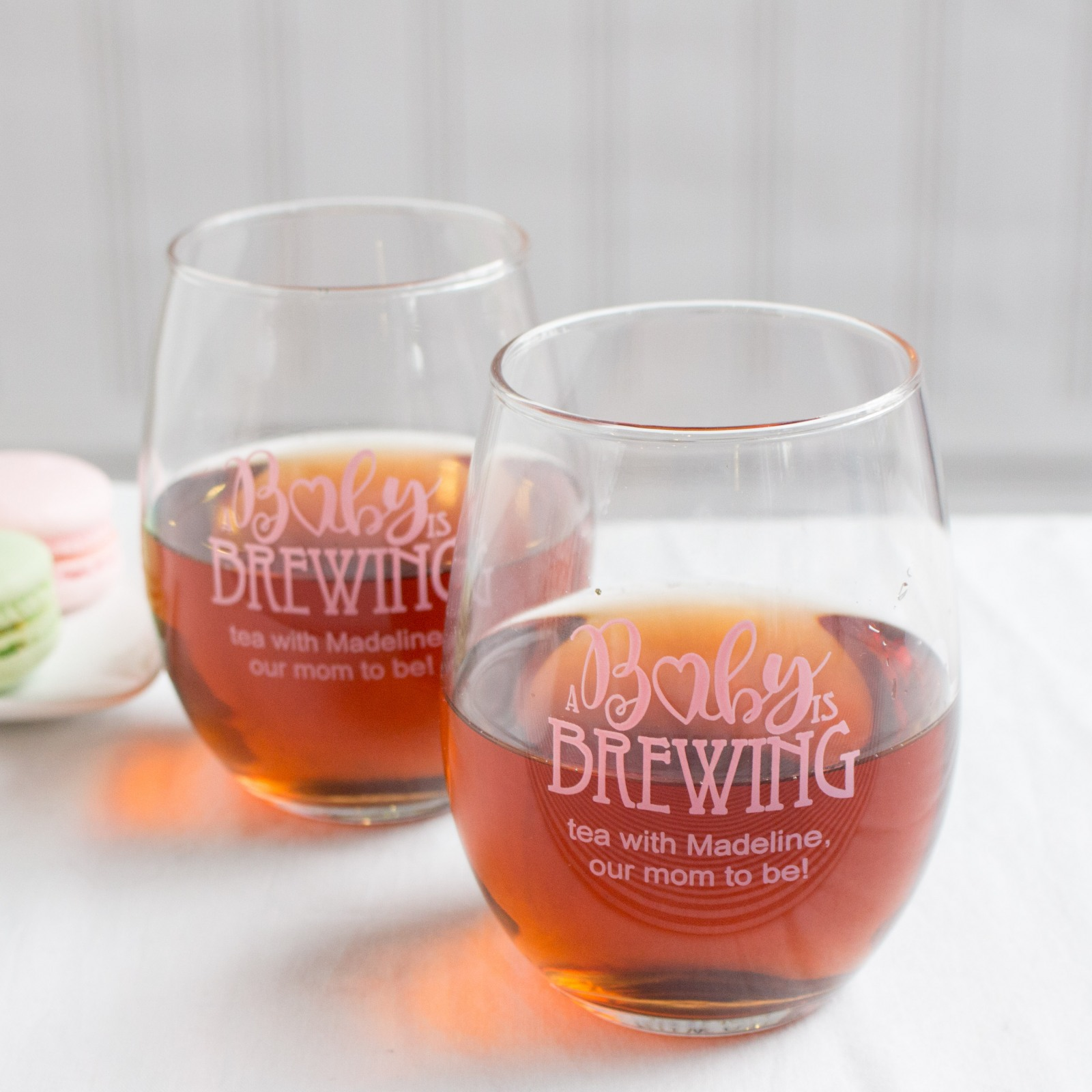 Personalized Baby is Brewing Stemless Wine Glass