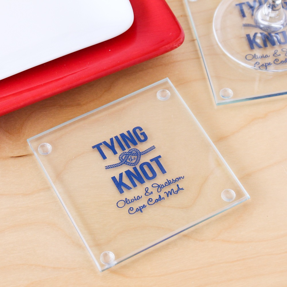Personalized Tying the Knot Coasters