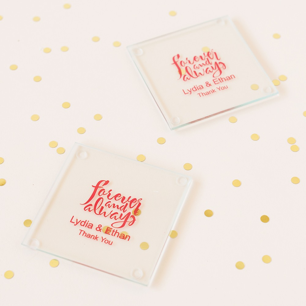 Personalized Forever and Always Glass Coasters