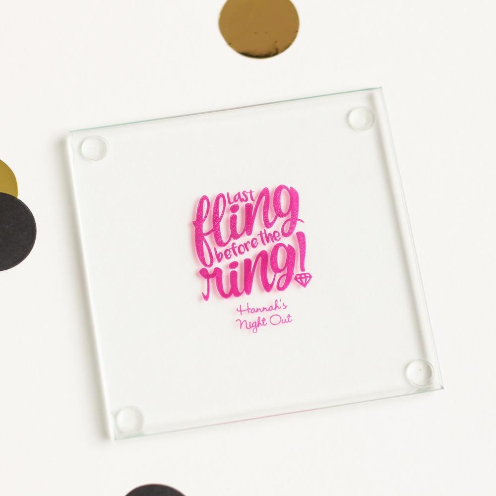 Personalized Bachelorette Glass Coasters