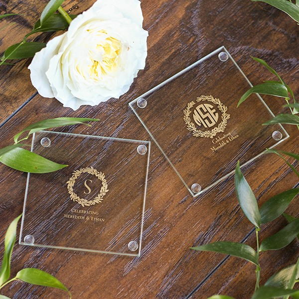 Personalized Wreath Glass Coasters