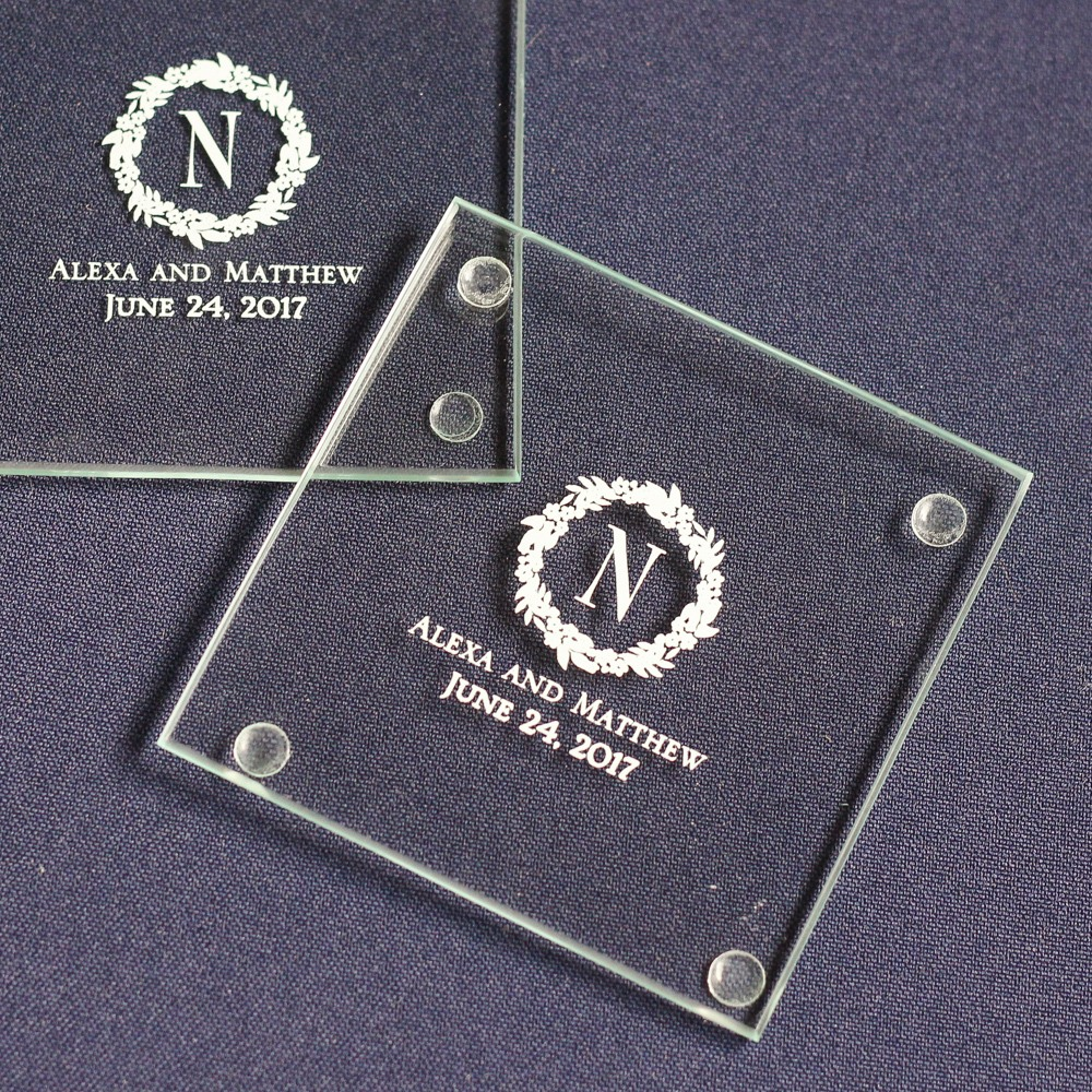 Personalized Initial Wreath Glass Coasters