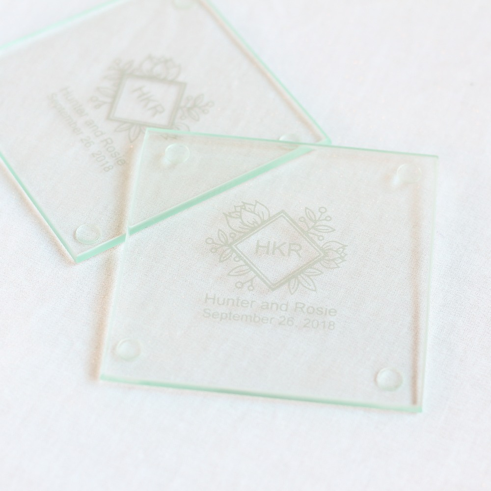 Personalized Floral Diamond Glass Coasters