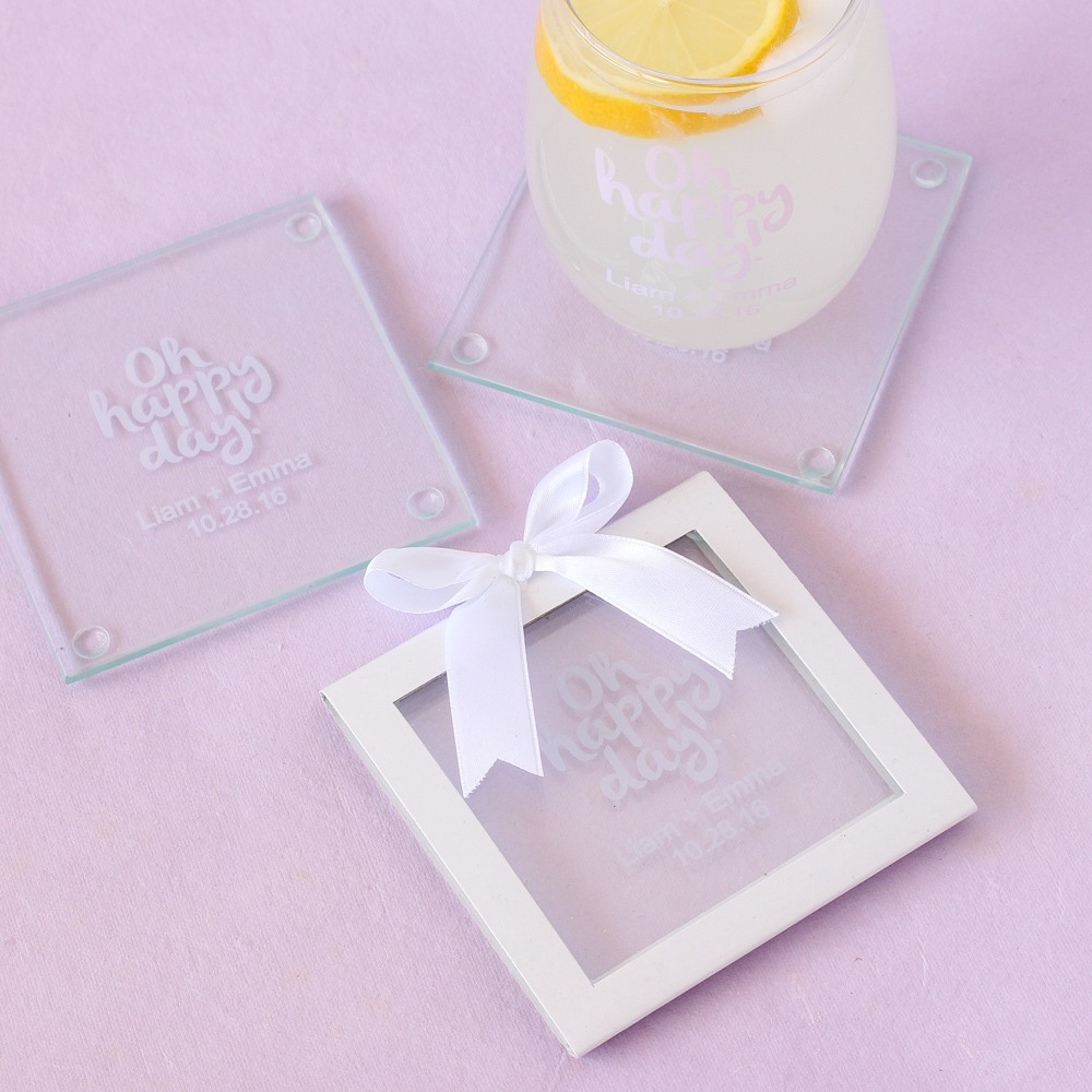 Personalized Glass Coaster Gift Sleeves