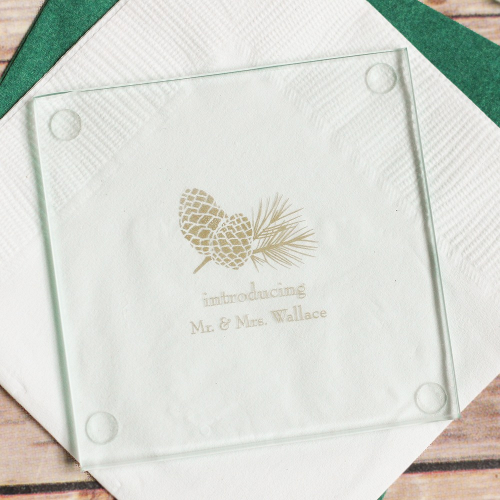 Personalized Pinecone Glass Coasters
