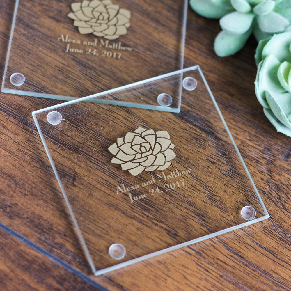 Personalized Succulent Glass Coasters