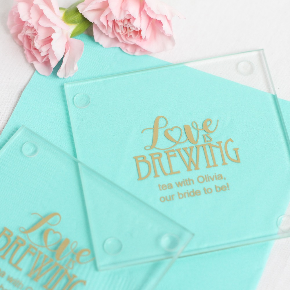 Personalized Love is Brewing Glass Coasters