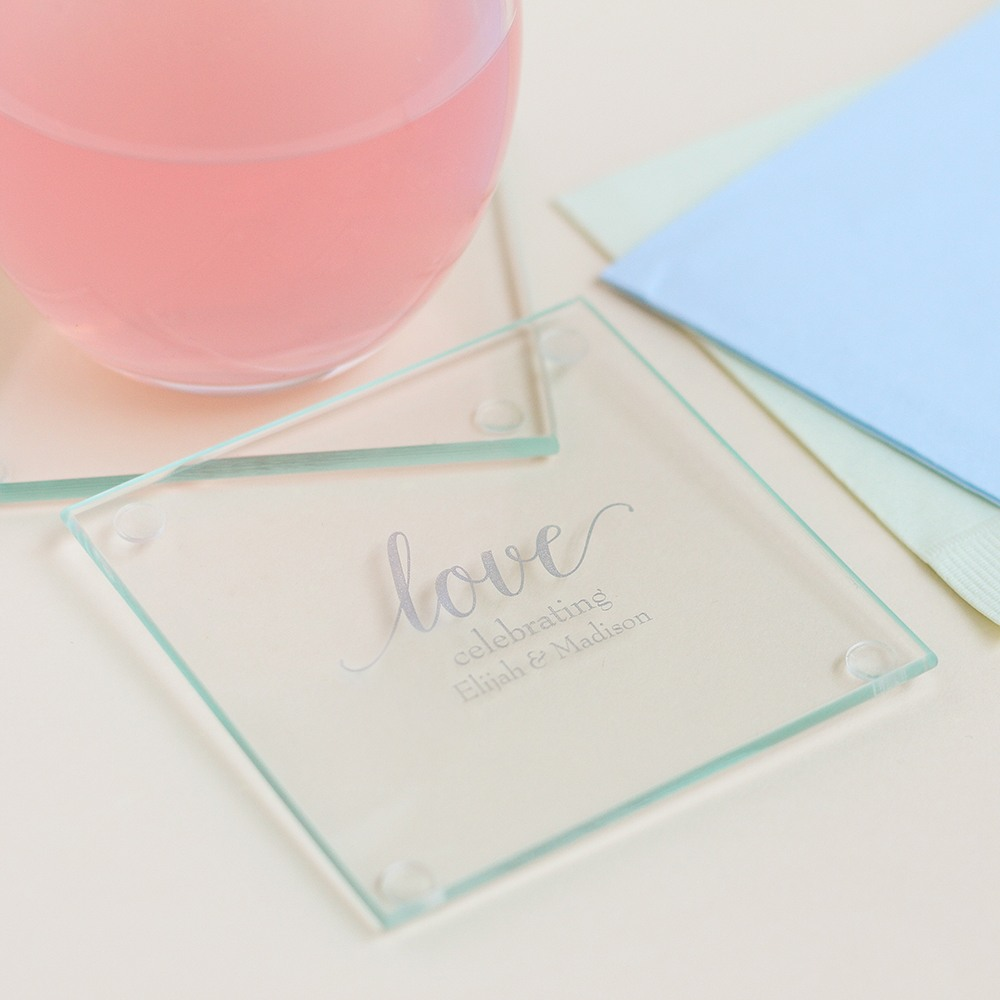 Personalized Love Glass Coasters