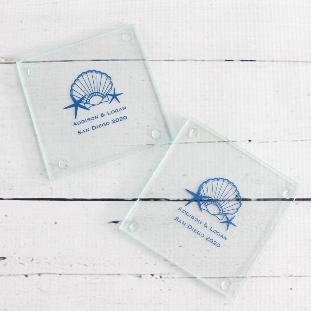 Personalized Seashell Glass Coasters