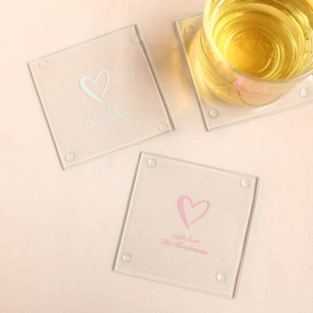 Personalized Heart Glass Coaster