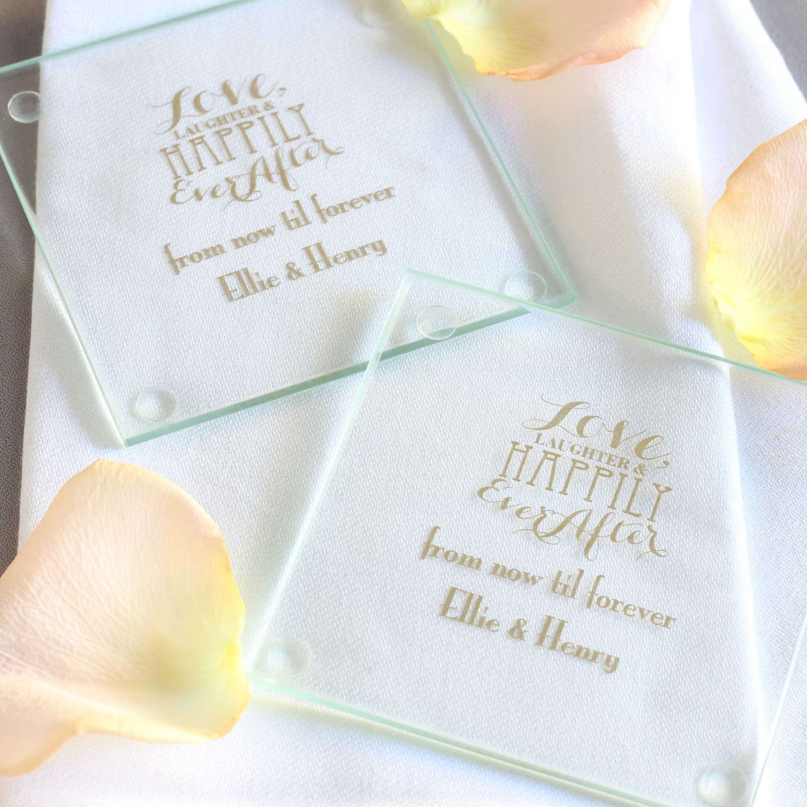 Personalized Love Laughter Glass Coasters