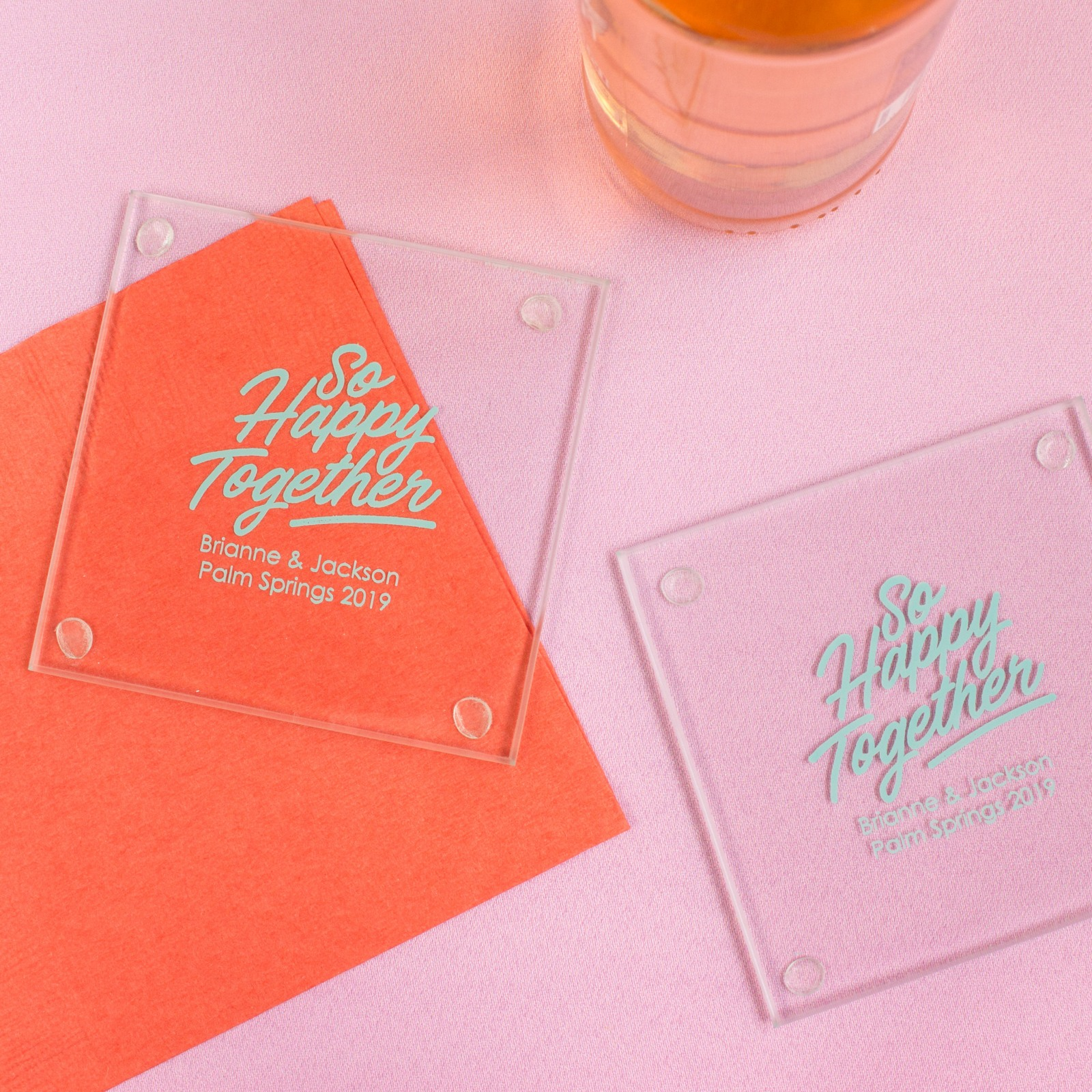 Personalized Happy Together Glass Coasters