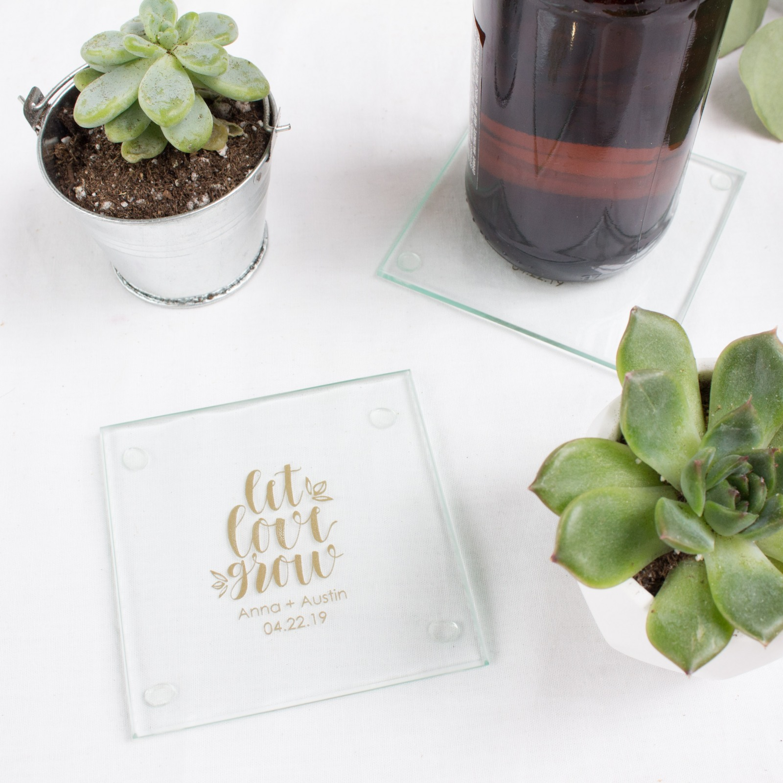 Personalized Let Love Grow Glass Coasters