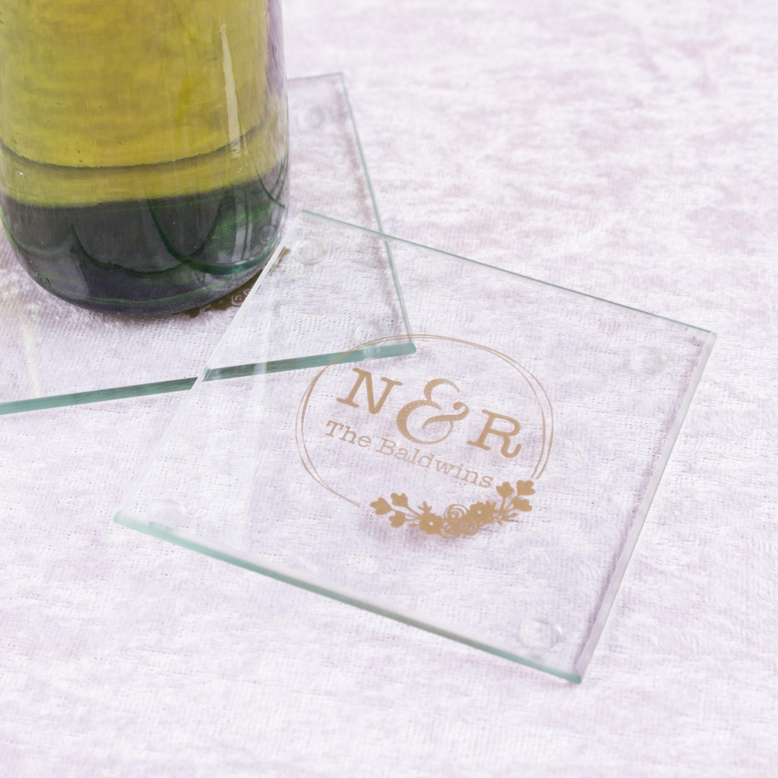 Personalized Botanical Monogram Glass Coasters