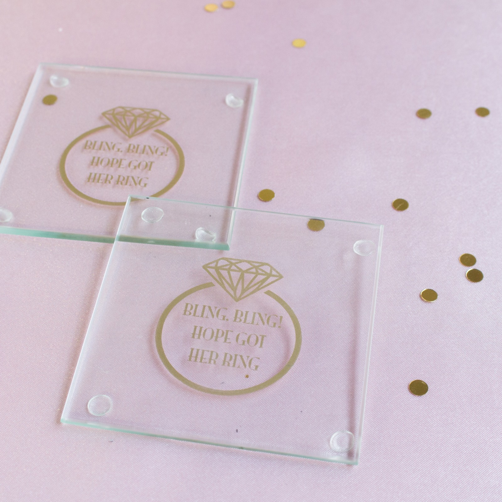 Personalized Ring Glass Coasters