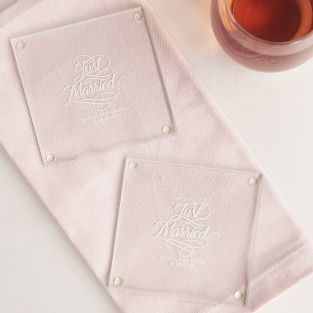 Personalized Glass Coasters just married