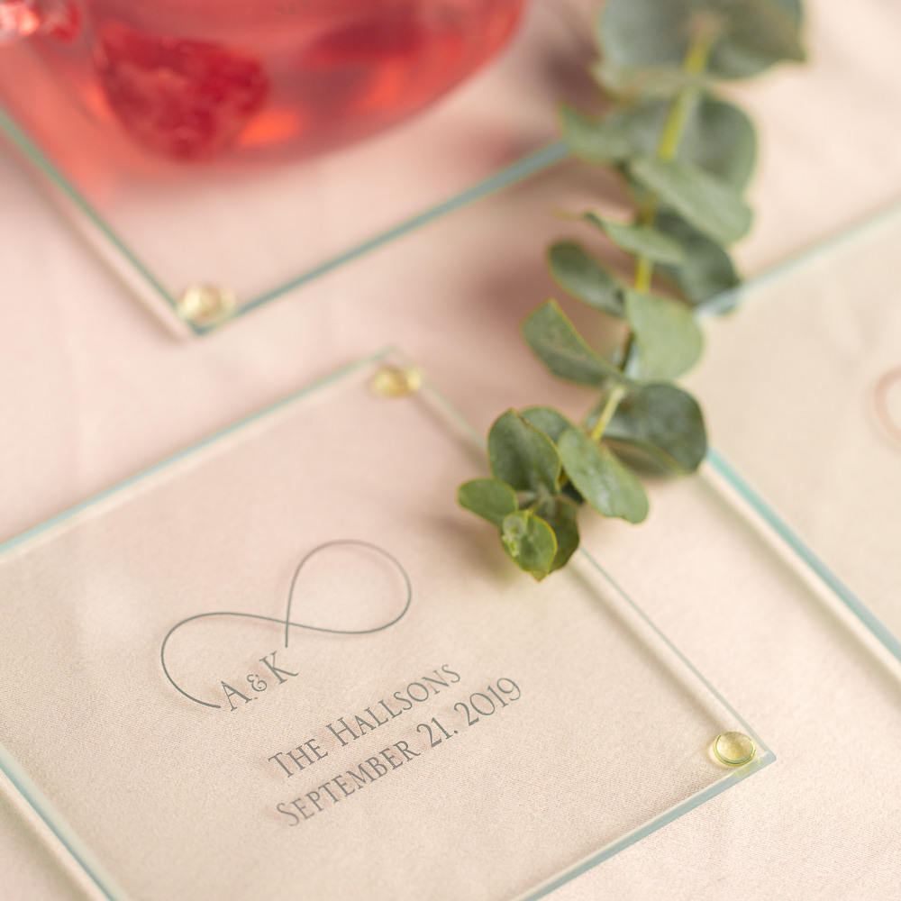 Personalized Eternal Love Glass Coasters