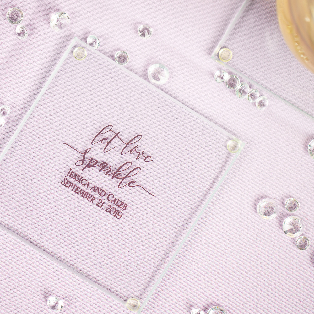 Personalized Let Love Sparkle Glass Coasters