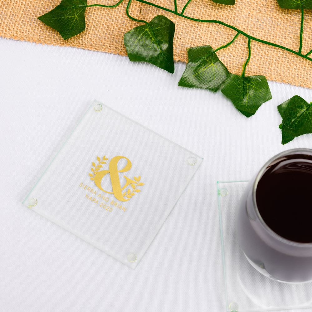 Personalized Eco Ampersand Glass Coasters