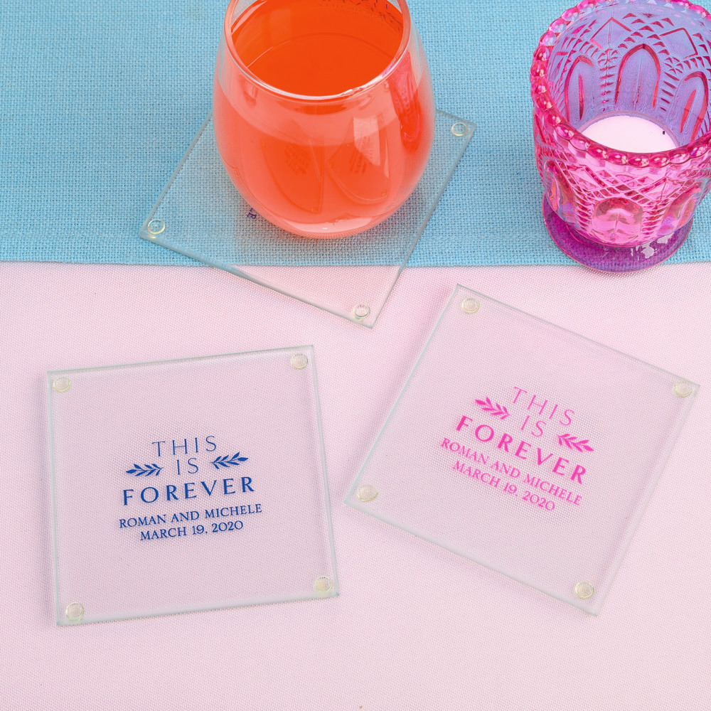 Personalized This is Forever Glass Coasters