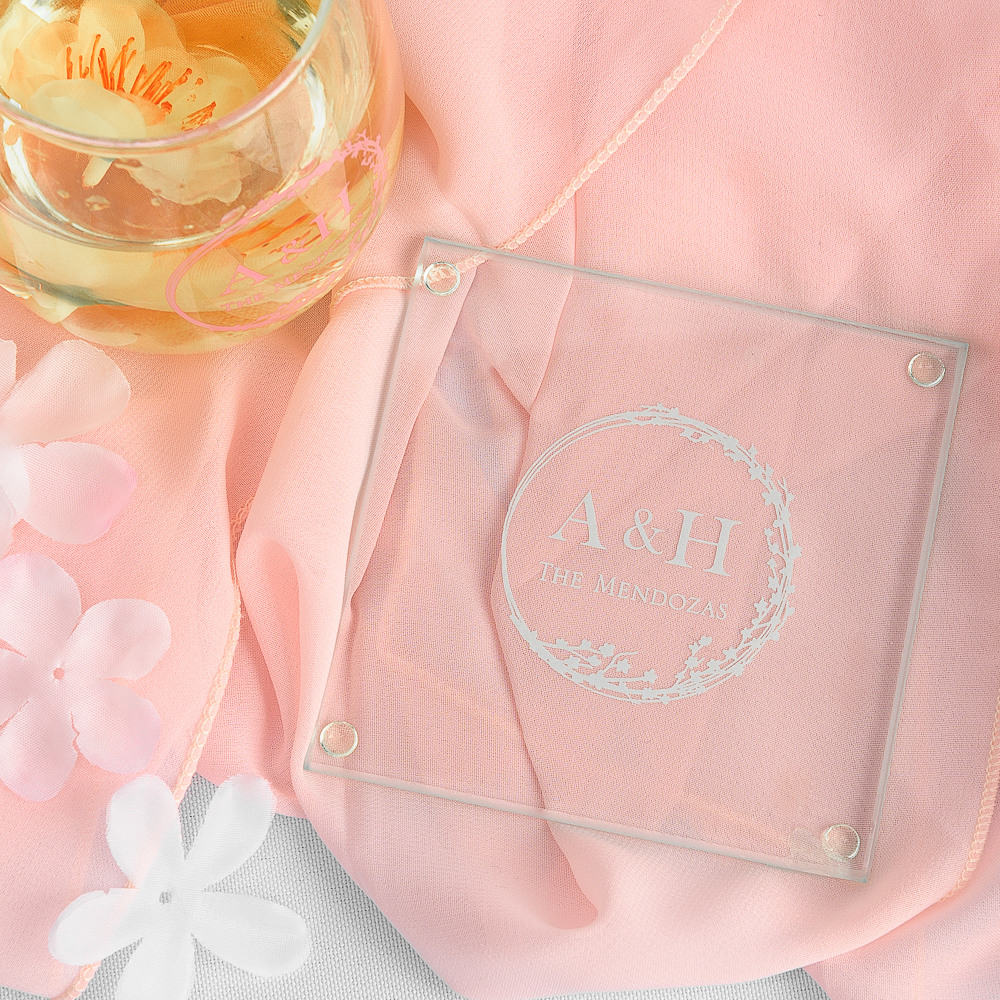 Personalized Cherry Blossom Glass Coasters