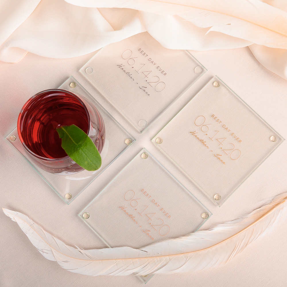 Personalized Modern Date Glass Coasters