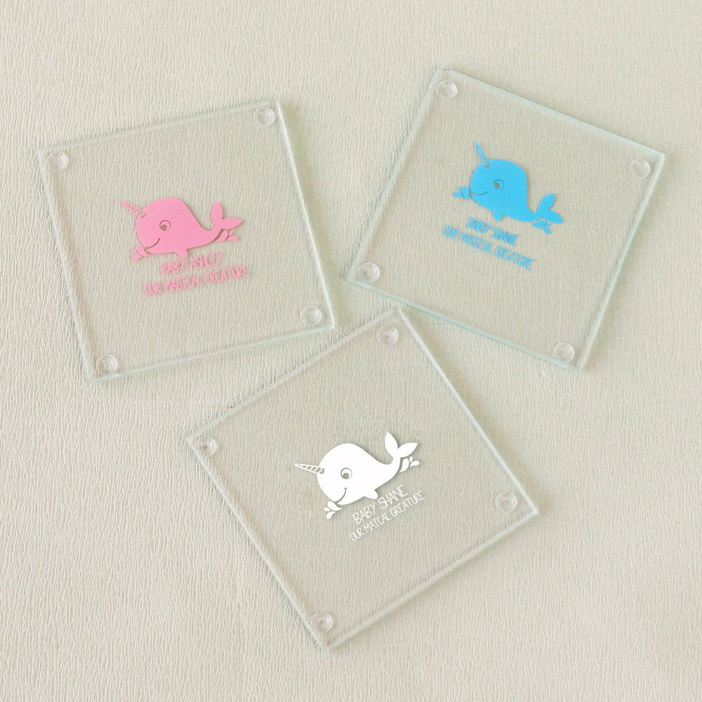 Personalized Narwhal Glass Coasters