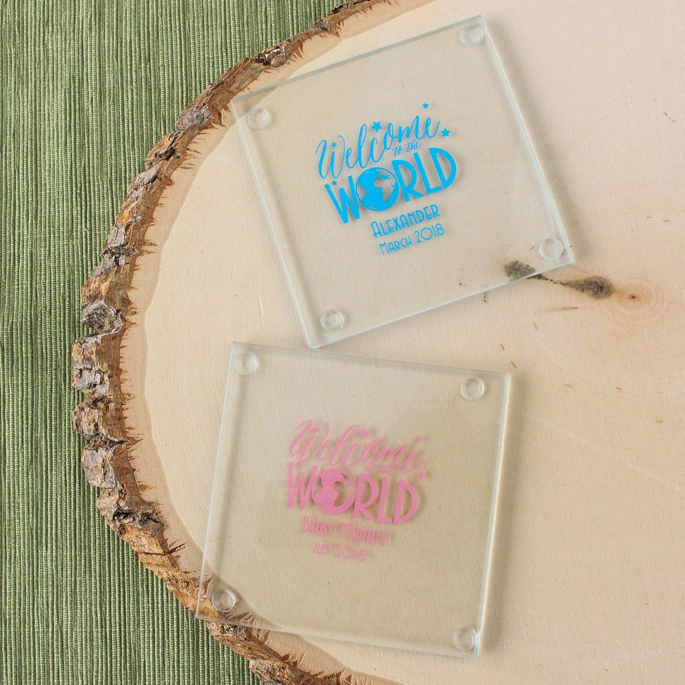 Personalized Welcome to the World Glass Coasters